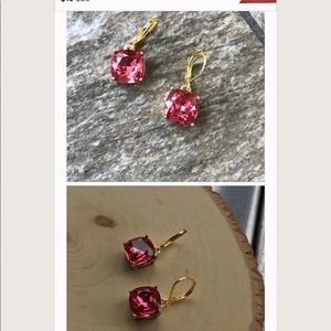 Raspberry crystal earrings